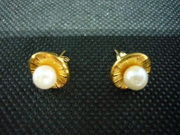 Boucles d'oreilles fantaisie vintage en métal doré et perle